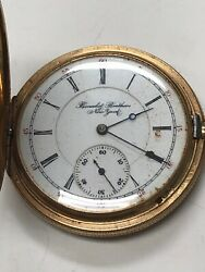 14k Solid Yellow Gold Benedict Brothers New York Pocket Watch 15 Jewels Working