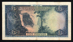 Rhodesia And Nyasaland 5 Pounds P-22 1956 Queen Antelope Rare Currency Banknote