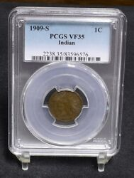 1909-s Indian Cent - Pcgs Vf35 29249