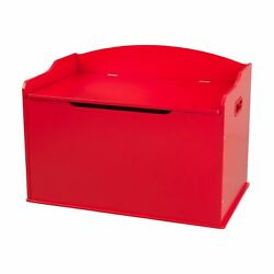 Kids Red Finish Wooden Toy Box Chest Storage Bench Trunk Play Room Organizer