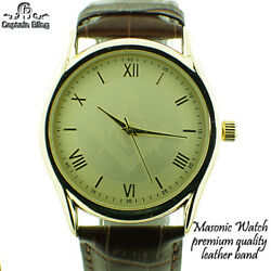 Menand039s Masonic Watch Elegant Leather Band W Gold Tone Dial And Roman Numerals