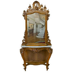 Antique Console And Mirror, Italian Louis Xv Style, Monumental, 19th C., 1800s