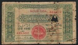 Portuguese India 8 Tangas P-20 1917 1/2 Rupee Steam Ship Rare Currency Banknote