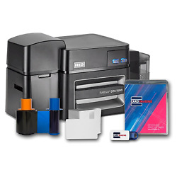 Fargo Dtc1500 Single Side Id Card Printer And Supplies Bundle With Card Imaging