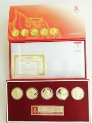 New Gold Plated 5 Mascot Medallion 2008 Olympic Limited Edition 100 Authentic