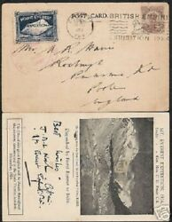 India 1924 British Mt.everest Expedition Rare Picture Postcard With Stamp Cancel