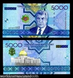 Turkmenistan 5000 5000 Manat P21 2005 X 100 Pcs Bundle Lot Niyazov Unc Banknote