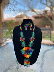 Mexican Huichol Handmade Necklace, Bracelet And Earrings