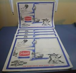 Lot Of 5 Vintage Jacob Schmidt Beer Sports Paper Placemats Craft Brewery