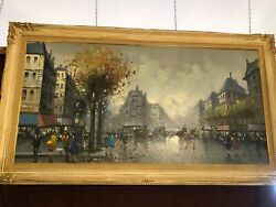 Large Paris Street Scene-framed Oil Painting On Canvas Signed A.devity