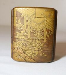 Fine Antique Japanese 1800and039s Meiji Period 5 Compartment Gold Lacquer Inro Ornate