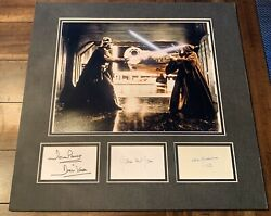 Alec Guinness And James Earl Jones And Dave Prowse Star Wars Signed Display Index K9