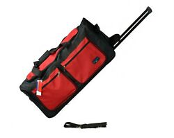 30 50 Lb Capacity Rolling Wheeled Duffle Bag / Suitcase /luggage Black/red New