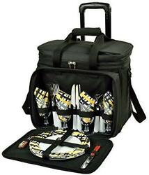 D Picnic Backpack On Wheels For 4 Equipped Set for Outdoor Yellow Paris $206.09
