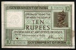 India 10 Rupees P-6 1917 British King George V Rare Currency Money Bill Banknote