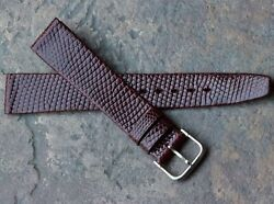 Made In France Rich Cordovan Color 16mm Genuine Lizard Vintage Watch Band 1960s