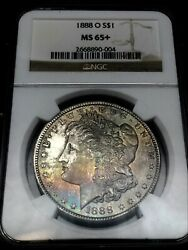 1888-o 1 Ngc Ms65+plus And Amazing Rainbow Obverse Toned Morgan Silver Dollar.