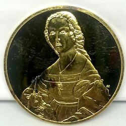 1978 Young Woman And Unicorn Raphael Gold Electroplate Sterling Silver Proof Medal