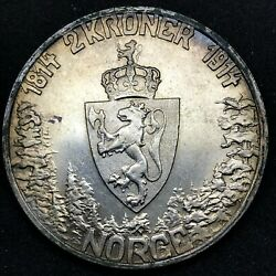 1914 Norway Silver 2 Kroner 100th Anniversary Of The Constitution Km 377 2