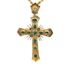 Antique- Hand Made- 14k Yellow Gold Emerald Cross With 14k Y/g 18 Rope Chain .