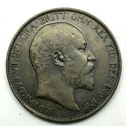 1902 Great Britain- Edward Vii - One Penny Bronze Coin- Km 794.1