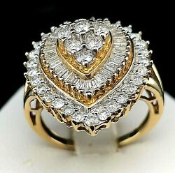 Antique Pear Shaped Ladies Ring 10k Yellow Gold 2.10ct Diamond, Round, Baguette.