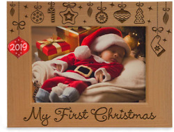 Kate Posh - 2019 Inlaid Ornament - My First 1st Christmas Engraved Natural Wood