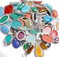 Labradorite And Mixed Gemstone Pendants 925 Sterling Silver Polished Pendant