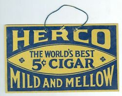 1930's/1940's Herco Mild And Mellow 5 Cent Cigar Cardboard Sign, 6 ¾ X 4 Inches