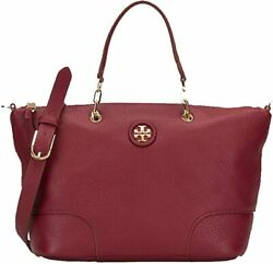 Tory Burch Whipstitch Logo Small Slouchy Satchel Shoulder Women Leather Handbag $169.99
