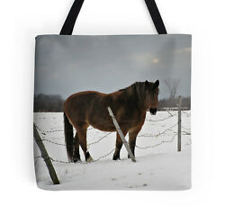 Horse in Winter ~ TOTE BAG wExclusive Equine Design ~ Evocative Functional Art