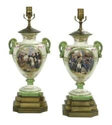 Antique Lamps, Urn, Pair Of French Porcelain Urns Converted To Lamps, Gorgeous