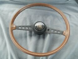 Vintage Fiat 15 Wood Steering Wheel With Horn Button