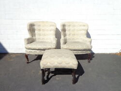 3pc Traditional Wingback Armchairs Chair Seating Vintage Lounge Ottoman Footrest