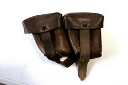 Ww2 German Military Leather Set Of 2 Pouches For Ammo Ammunitions