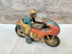 1950s Vintage Rare No. 73 Rider On Motorcycle Tin Friction Toy Working Condition