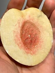 Early Antique Italian Alabaster Stone Fruit Marble White Red Half Peach No Pit