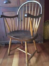 Windsor Chair C1800 Bow Back Arm Bamboo Legs Wide Saddle Seat Full Height