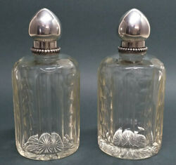 Vintage Art Deco Pair Of Crystal And Silver Perfume Bottles/ Hallmarked Andaacuteguia