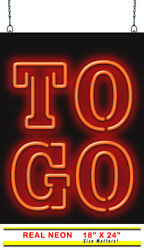 To Go Neon Sign | Jantec | 18 X 24 | Pick Up Order Call In Pizza Chinese Bar