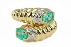 0.84tcw Toi Et Moi Colombian Emerald And Diamond Cuff Bypass Ring 18k