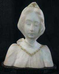 Antique Alabaster Stone Carved Bust Of A Young Lady