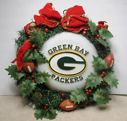 Nfl Official Team Greenbay Packers Wreath Fiber Optics Changing Color Christmas