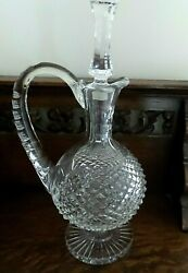 Vintage Waterford Crystal Carafe Decanter Alana Pattern With Applied Handle