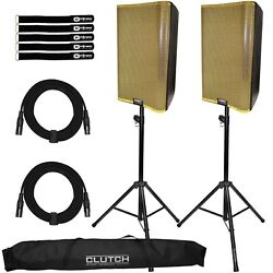 Qsc K12.2 12 Active Powered Dj Pa Speakers Pair W Gold Grills And Stands Pack