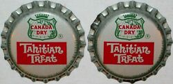 Soda Pop Bottle Caps Canada Dry Tahitian Treat Lot Of 2 Cork Lined New Old Stock