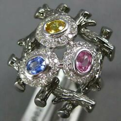 Large .87ct Diamond And Aaa Multi Color Sapphire 14k White Gold Bird Nest Fun Ring