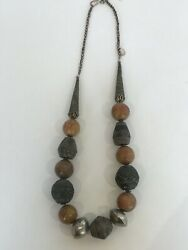 African Big Beaded African Spindle Whorls Necklace