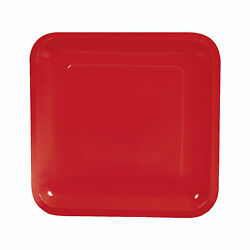 Red Square Paper Dinner Plates - 18 Ct. - Party Supplies - 18 Pieces