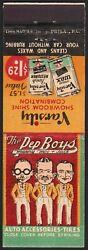Vintage Matchbook Cover The Pep Boys Manny Moe And Jack Pictured Varsity Wax